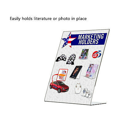 "8.5"" x 11"" Sign Holder Ad Frame Slant Back Counter Display Frame Acrylic Qty 12 6"