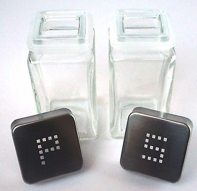 Salt and Pepper Glass Shakers Stainless Steel Tops Lid  Restaurant Shaker