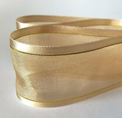 2-10m  Plain & With Gold Stripe Woven Edge Organza Sheer Chiffon Wedding Ribbon 11