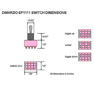 NEW DiMarzio 3 Way 4 Pole Double Throw Pickup Selector Switch On ...