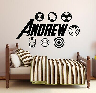 Custom Avengers Name Wall Decal Cartoon Super Hero Kids Art Mural Sticker 2