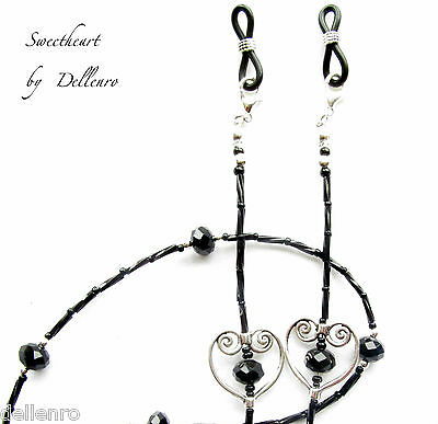 ✫Sweetheart✫Black  Beaded Necklace Glasses Spectacles Eyeglass Chain Holder
