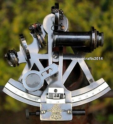 Marine Nautical Brass Working Sextant With Wooden Box 3