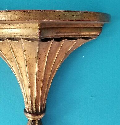 Old VTG Hollywood Regency SCONCE WALL SHELF Italianate GOLD RUB RED Plaster Wood 2