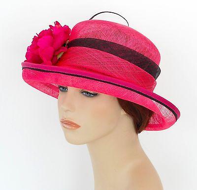 New Woman Church Derby Wedding Sinamay Ascot Dress Hat SDL-004 Orange //Baby Pink