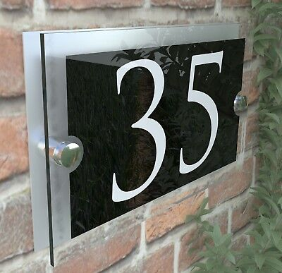 Contemporary House Sign Plaques Door Number 1 - 9999 Personalised Name Plate 6