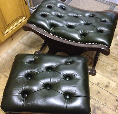 Footstools x 2 With Matching Brand New Antique Green Leather and Both Buttoned. 2