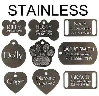 Dog Cat Pet Tags Charm Custom Id Free Deep Double Sided Diamond Engraved Name