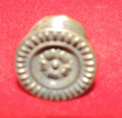 Antique 19th c. Spun Brass Furniture Knob Drawer Pull Handle Federal Regency