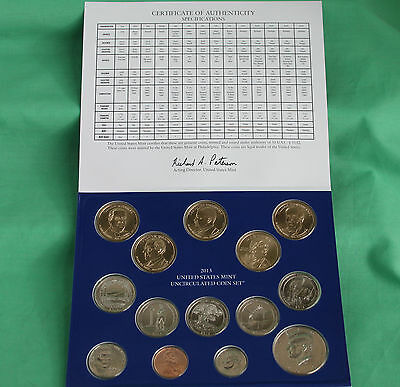 2013 ANNUAL US Mint Uncirculated Coin Set 28 P and D Minted Coins with COA 3