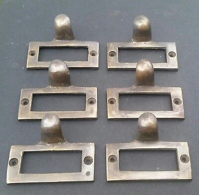 "6 Brass Card File Holders With Handles Antique Style  2 1/8"" wide x 1"" tall  #F2"