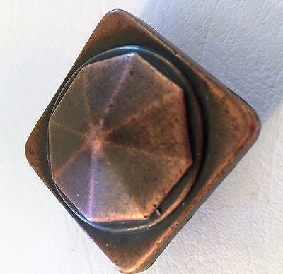 "Copper Antique Hardware Drawer Pull Vintage Cabinet Knob Arts Craft 7/8"" center"
