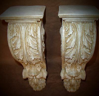 Antique Finish Shelf Acanthus leaf Wall Corbel Sconce Bracket Home Decor Pair 6
