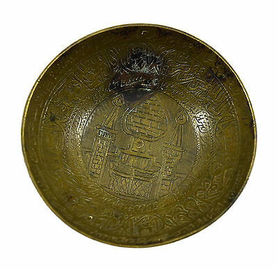 Rare Antique Old Talisman Islamic Medicine Calligraphy Brass Bowl. G3-14 US 4