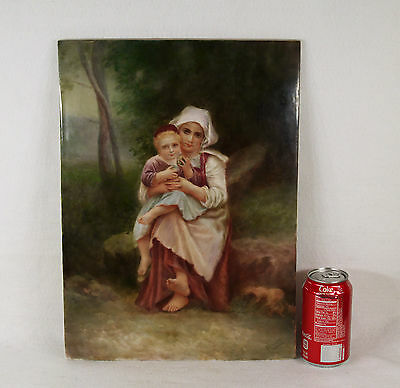 Large Antique French Hand Painted Porcelain Plaque Signed Hewitt not KPM