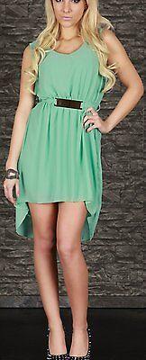 SeXy Miss Damen Vokuhila Chiffon Mini Kleid Glamour Schnalle 34/36/38 Neu mint 3