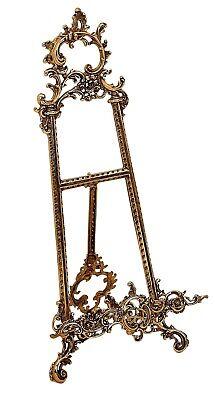 Cavalletto porta foto quadro piatto in ottone barocco 40 cm 2
