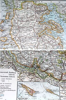 1907 Antique Map Of Schleswig-Holstein Mecklenburg Hamburg Germany Denmark 2