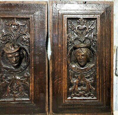 16 th Pair renaissance portrait panel Antique french oak architectural salvage 6