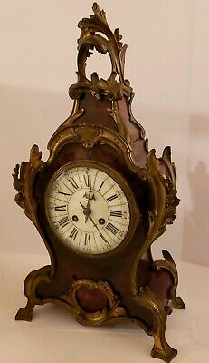 Antique 1855 V. Depose French Boulle Victorian Red Shell Bracket Mantel Clock 6
