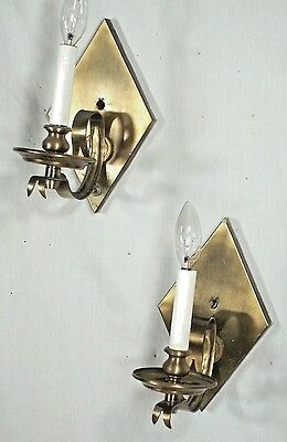 Pair Of Mid Century Modern Diamond Back Scrolled Arm Brass Sconces 3