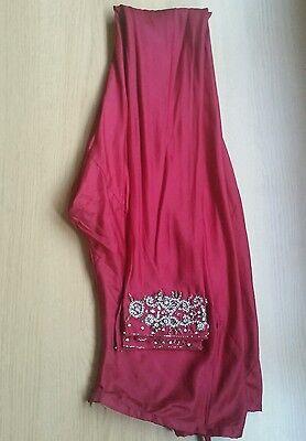 Deep red / Burgundy Silk  Heavy Jewelled Diamante work long kameez/pajama suit 12