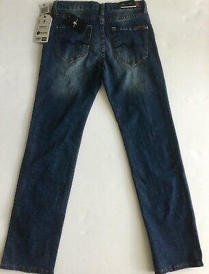 Nwt 7 For All Mankind Sz12Y Jungen Standard Gerade Jeans Stretch Nostalgie Blau 3