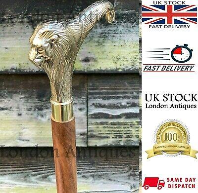 Classic Vintage Style Lion Head Handle Wooden Walking Stick Foldable Antique 9