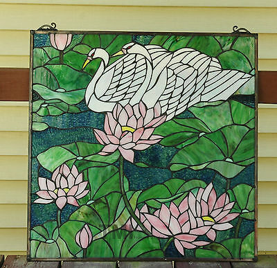 "24"" x 24"" Tiffany Style stained glass window panel water lily / Lotus swan 11"