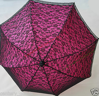 Retro Victorian Lace Bridal/Wedding Umbrella  Parasol In Fuchsia/Pink 6