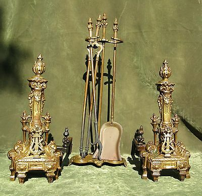 Antique Pair French Empire Style Brass Andirons Chenets 8