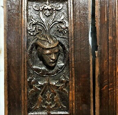 16 th Pair renaissance portrait panel Antique french oak architectural salvage 4