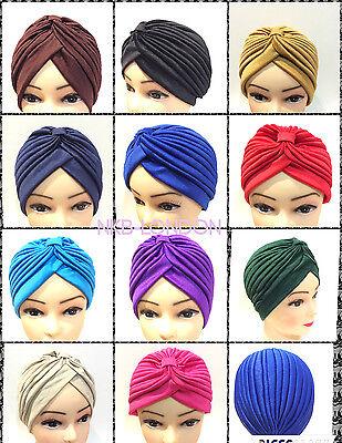 NEW TURBAN STYLE Head Wrap Head cover Hat Bandana Scarf Hair Loss  cap Vintage