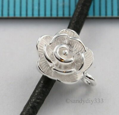 1x BRIGHT STERLING SILVER FLOWER SLIDE PENDANT BAIL CONNECTOR #1635 2