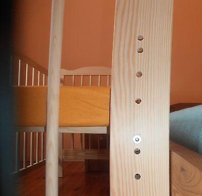 Beistellbett Babybett Komplett Set Gitterbett Kinderbett 2 in1 Massivholz 3