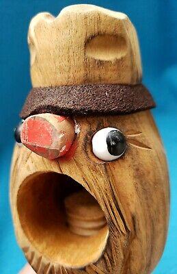 Vintage Black Forest Tyrolean Carved Wooden Screw Nutcracker Wood Nut Cracker 12