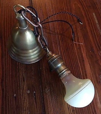 "15"" Long Vintage Antique Pendant Light Brass Turnkey Socket Wired Great Look!!! 4"