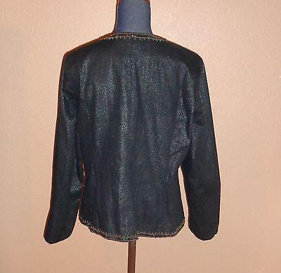 Chico's Embellished Military Glam Napoleon Black Cotton Jacket Size 2 (L) RARE!! 4