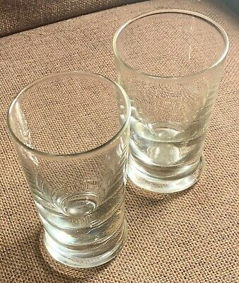 2 X Hand Blown Clear Glass Tumblers / Beakers - Heavy Base , Bubble Inclusions 3