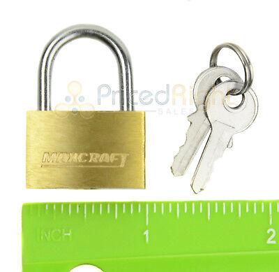 "2 pack Lot 1"" Inch Key Padlock Mini Tiny Small Brass Lock Luggage Toolbox Box 7"