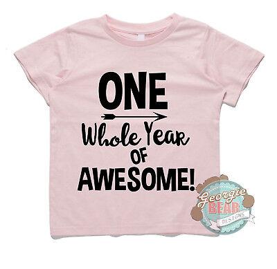 Custom Printed Kids Cotton First Birthday T Shirt