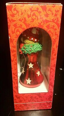 Nib Vintage Mistletoe Magic Collection Hand Blown Christmas Bear Glass Ornament 3