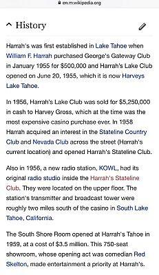 Harrah/'s South Shore Room Lake Tahoe Nevada Showroom Hotel casino postcard New f