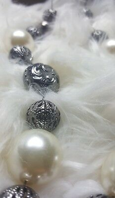 Womans Body Central Pearl Silver Bead Long Necklace Very Nice Jewerly Nice NWT! 3