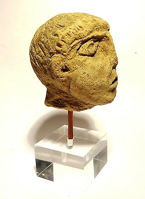 Head Greek Antique - 3° S.Front Jc - Ancient Greek Terracotta Head 400 BC 3