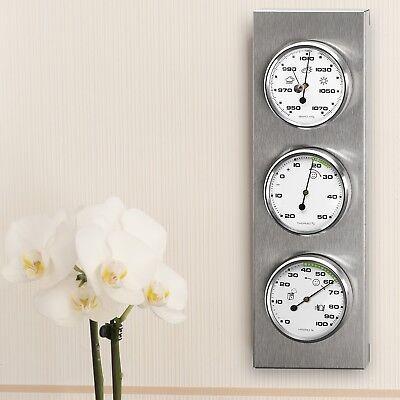 Innen- / Außen- Wetterstation analog Thermometer Hygrometer Barometer Edelstahl 2