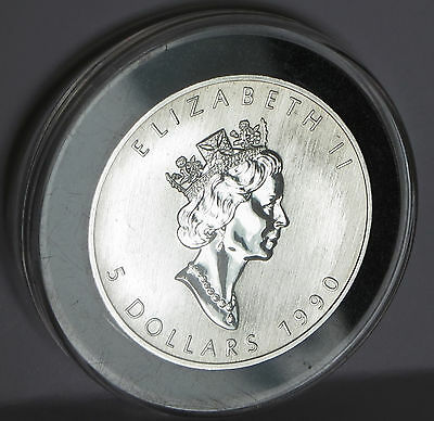 1990 Queen Elizabeth .9999 Fine Silver Vintage Canada Maple Leaf Coin 1 Troy Oz 4
