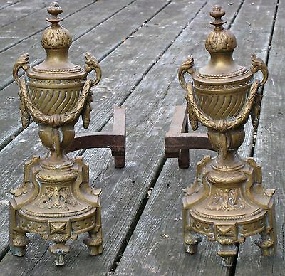 Antique 19th C. Bronze Brass French Louise XVI Urns Garland Fireplace Andirons 5