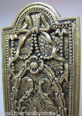 Antique Door Push Plate ornate flame torch ribbons bows floral old brass bronze 6