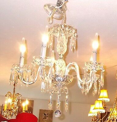 Antique Maria Theresa Crystal Prism 5 Arm Chandelier from Boston Archit Salvage 10